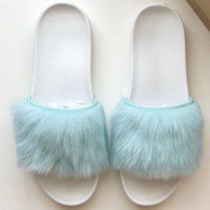 UGG Royale Fur Slide Sandals, 1018875 White/Blue 5